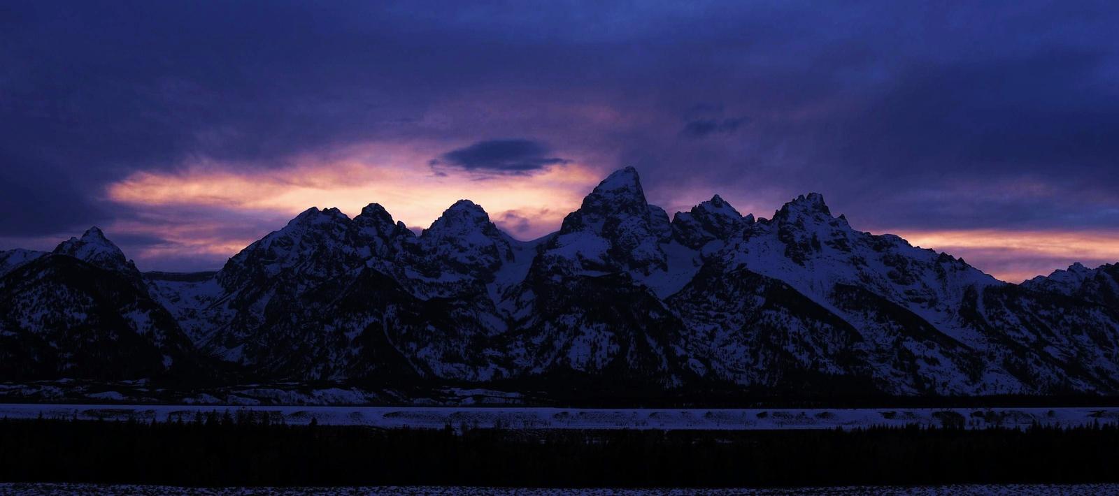 The Tetons at sunset.