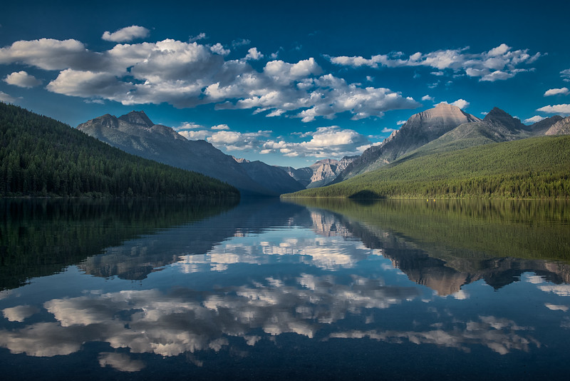 Clouds over Bowman Lake, Glacier National Park, Montana