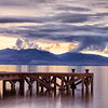 The Old Jetty at Portencross and Arran in the distance.
