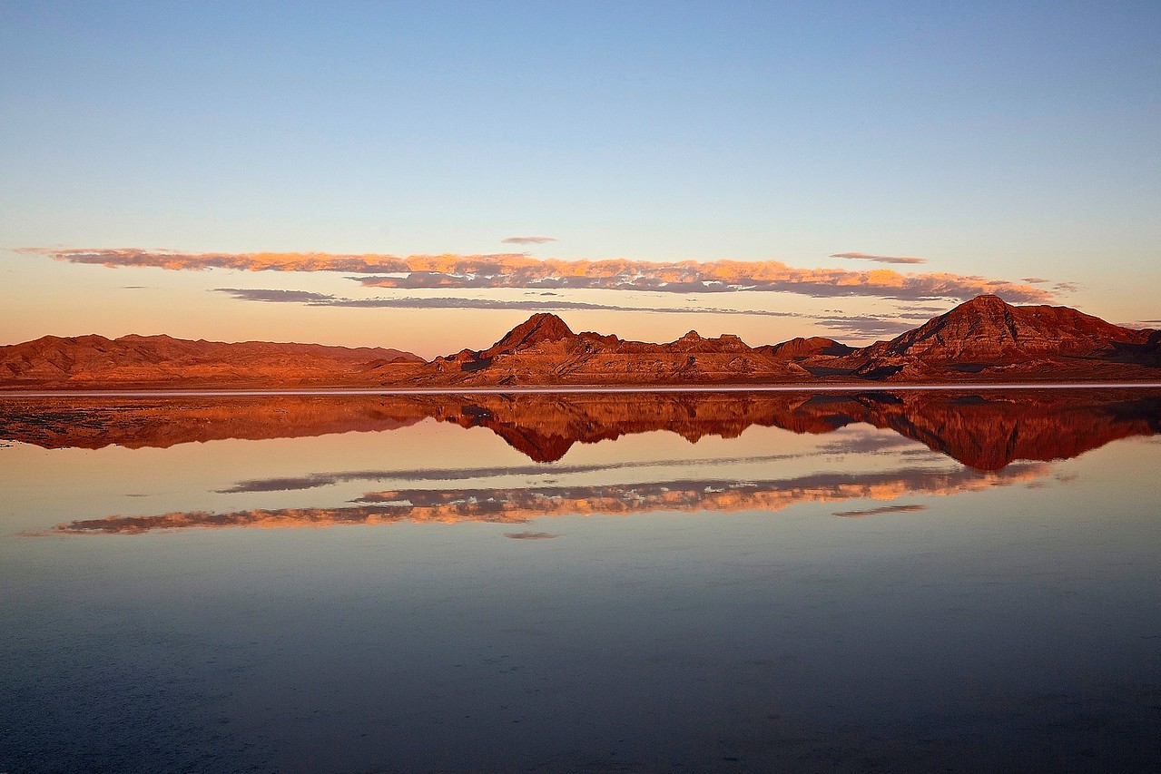 Mountain Dawn.  Bonneville Salt Flats, Utah