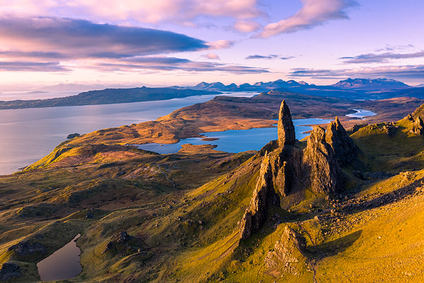 Aerial view of the Old Man of Storr at Sunrise
