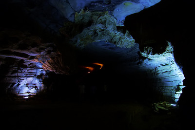 The colorful natural underground caves  in India
