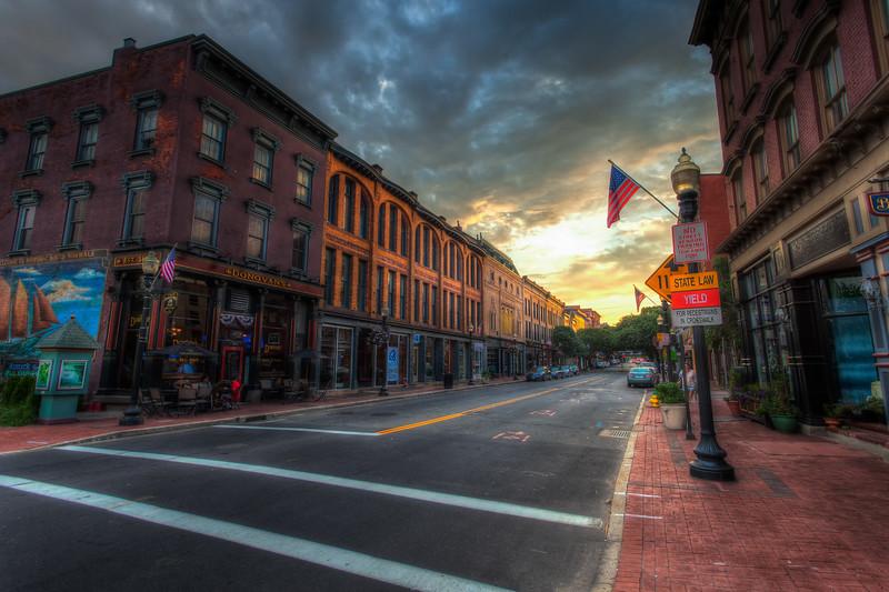 Washington Street in South Norwalk at sunset.