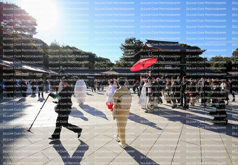 Wedding procession at Meiji Shrine.  Meiji is a Shinto shrine dedicated to the deified spirits of Emperor Meiji and his wife, Empress Shōken.