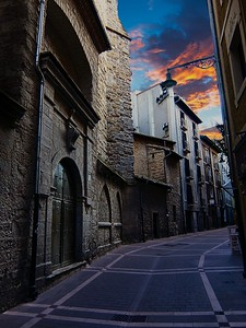 Pamplona at sunset