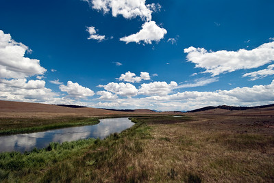 One of the upper forks of the South Platte river winds through the South Park valley in central Colorado.