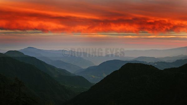A22:Sunset colours from Tsoka on the Goecha la Trek, West Sikkim