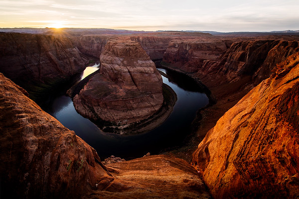 Sunset at Horseshoe Bend in Page, Arizona
