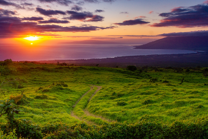 Sunset with pasture road winding into the distance, overlooking Kihei, Maui Hawaii