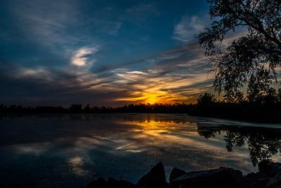 Sunset over Lake Henry