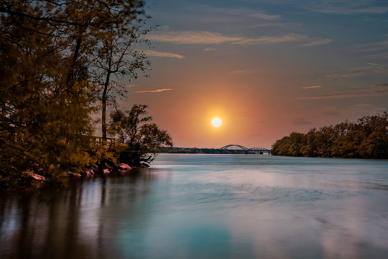 Sunset over the river