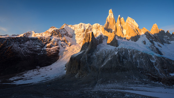 Sunrise over the Cerro Torre Massif, Patagonia