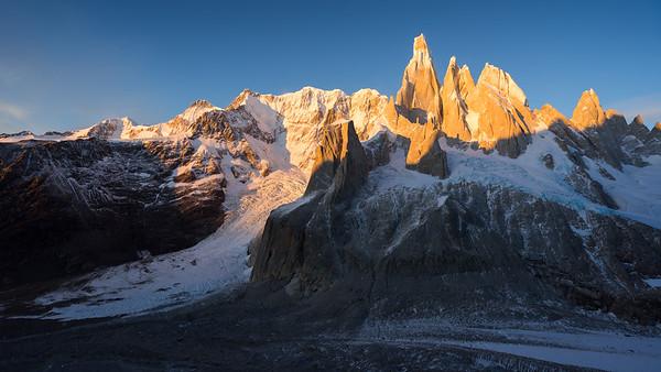 Sunrise over the Cerro Torre Massif, Patagonia