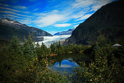 A pond in Juneau, Alaska with the Mendenhall Glacier in the background