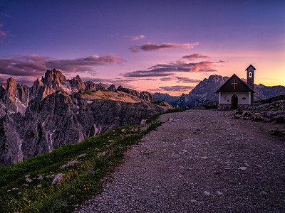 Church Sunset in the Dolomites of Northern Italy
