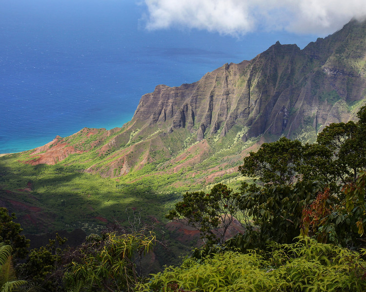 From the lookout point at the north end of Wiamea Canyon, looking down at the Na Pali Coast on the island of Kauai.  September 2011