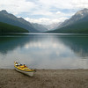 Kayak on Bowman Lake, Glacier National Park, Montana
