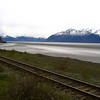 Railroad along Cook Inlet, just east of Anchorage, Alaska