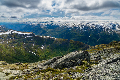 Cloudy mountain landscape of Norway
