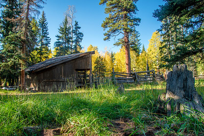 An old stable & cattle corral shrouded with Fall colors a few miles from the entrance to the North Rim of the Grand Canyon