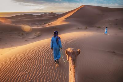 Camel led by Nomadic Tribesmen in the Sahara Desert