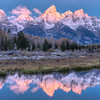 Sunrise at Schwabacher Landing in Grand Teton National Park , Wyoming