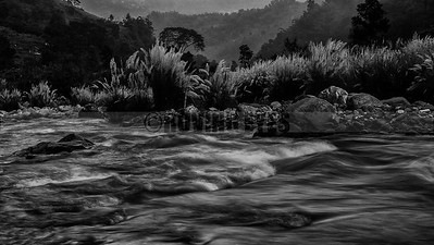 A3:River Reshi flows in the dusk by Reshikhola,Kalimpong,West Bengal. 'Khola' means river in the local language.