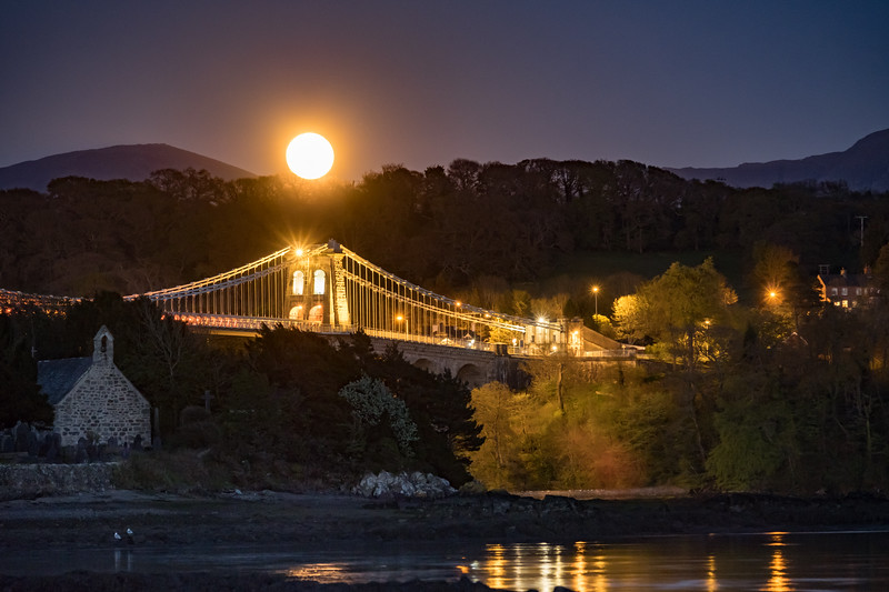 Moonrise over Menai Bridge 2