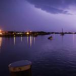 Lightning strike in Norwalk harbor.