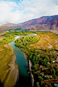 Leh Aerial View Indus Valley ladakh India