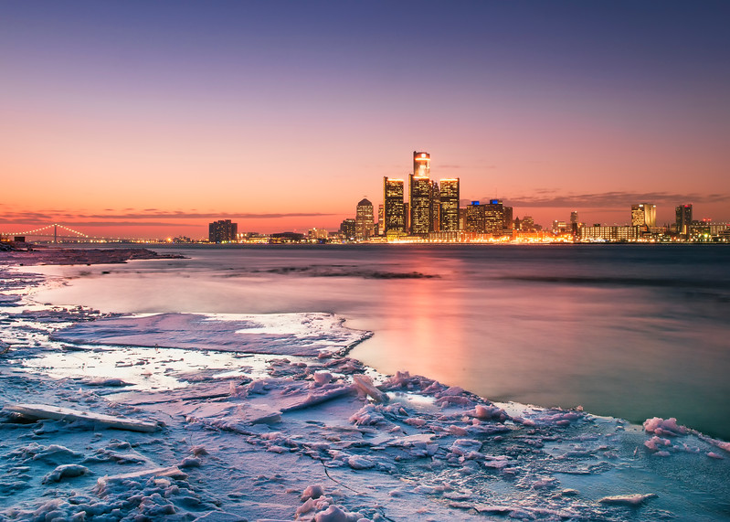 Detroit, Michigan, U.S.A. winter cityscape