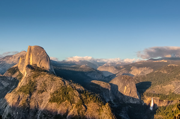 Glacier Point view of Half Dome, and Nevada Falls