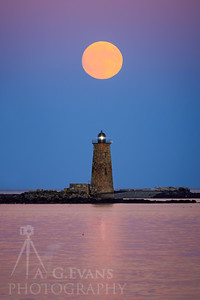 Supermoon Rise Over Whaleback Light 2