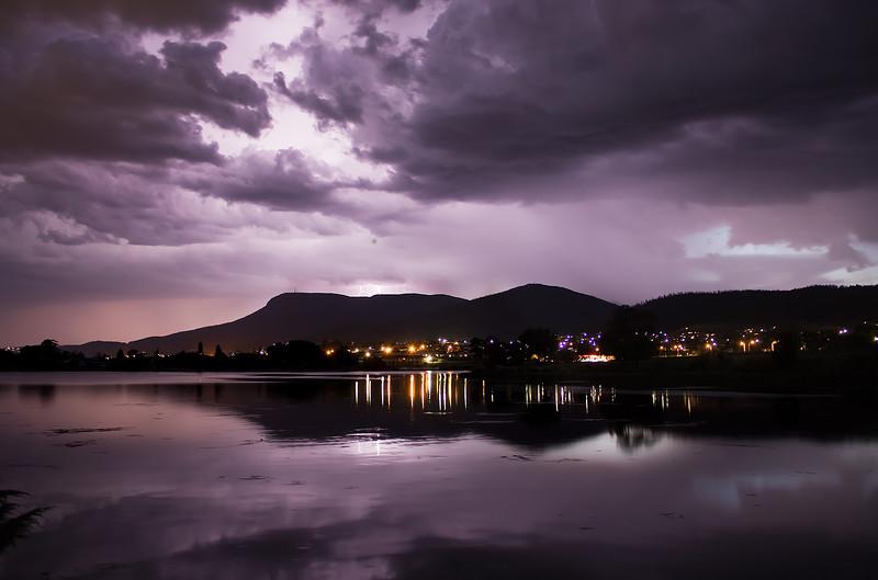 Sheet Lightning over Mt Wellington