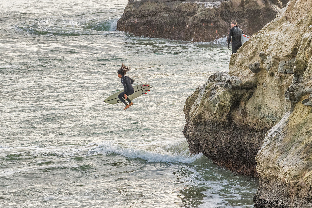 Jumping in at Steamer's Lane