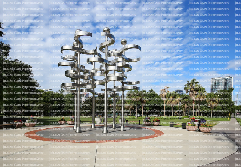 """Outdoor kinetic sculpture, titled """"Union"""" the creation of Swiss artist Ralfonso Gschwend on display at Lake Eola a public park in downtown Orlando."""
