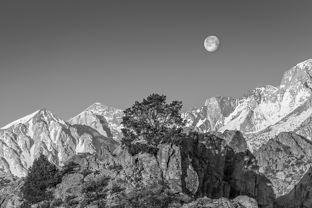Setting Moon and Mountains