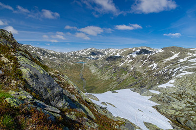 Wonderful snowy mountains of Norway by summer