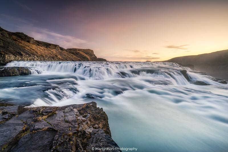 Gullfoss during sunrise