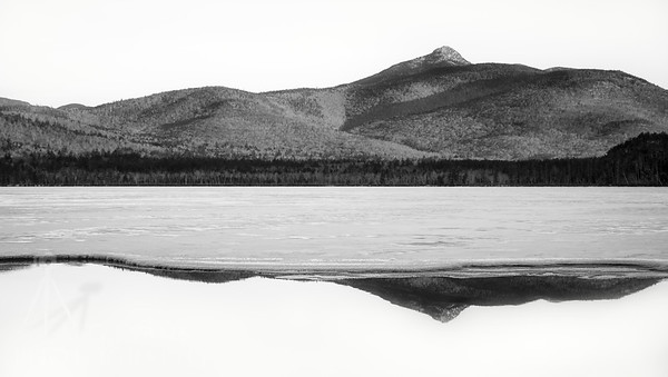 Mount Chocorua Winter Reflections Black and White