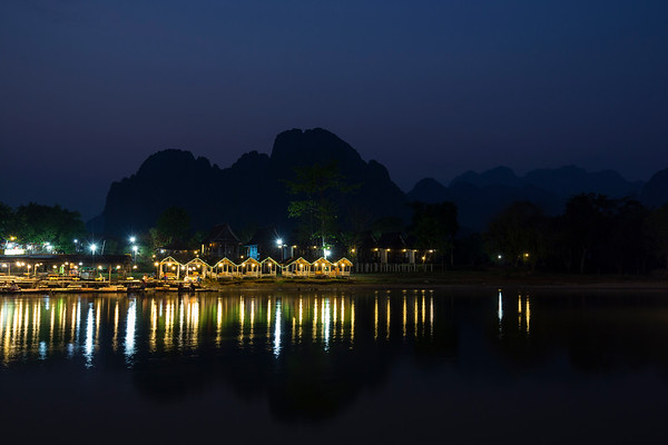 Scenic landscape in Vang Vieng, Laos at dusk