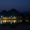 Scenic landscape in Vang Vieng, Laos at dusk