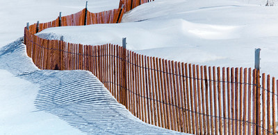Snowfence on the beaches of Lake Huron.  Sandpoint, Michigan.  March, 2013 Leica M9P