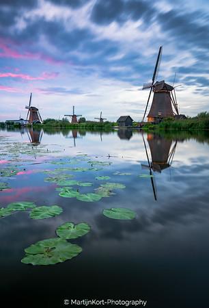 Kinderdijk windmills - magical sky