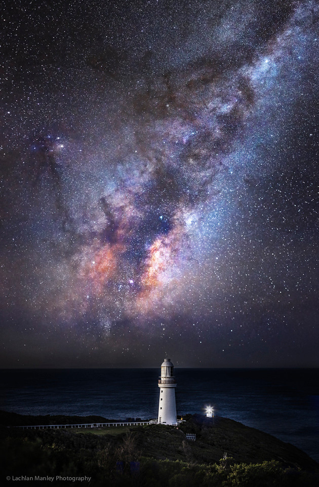 Cape Otway lighthouse , Milky way rises