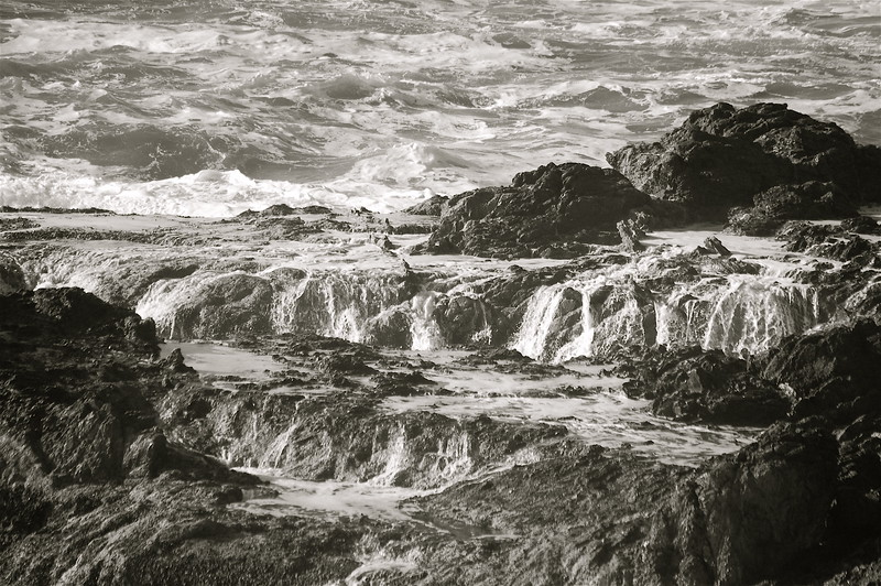 rocks and waves in black and white