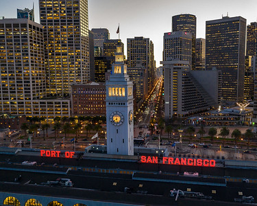 Ferry Building and Market Street at dusk