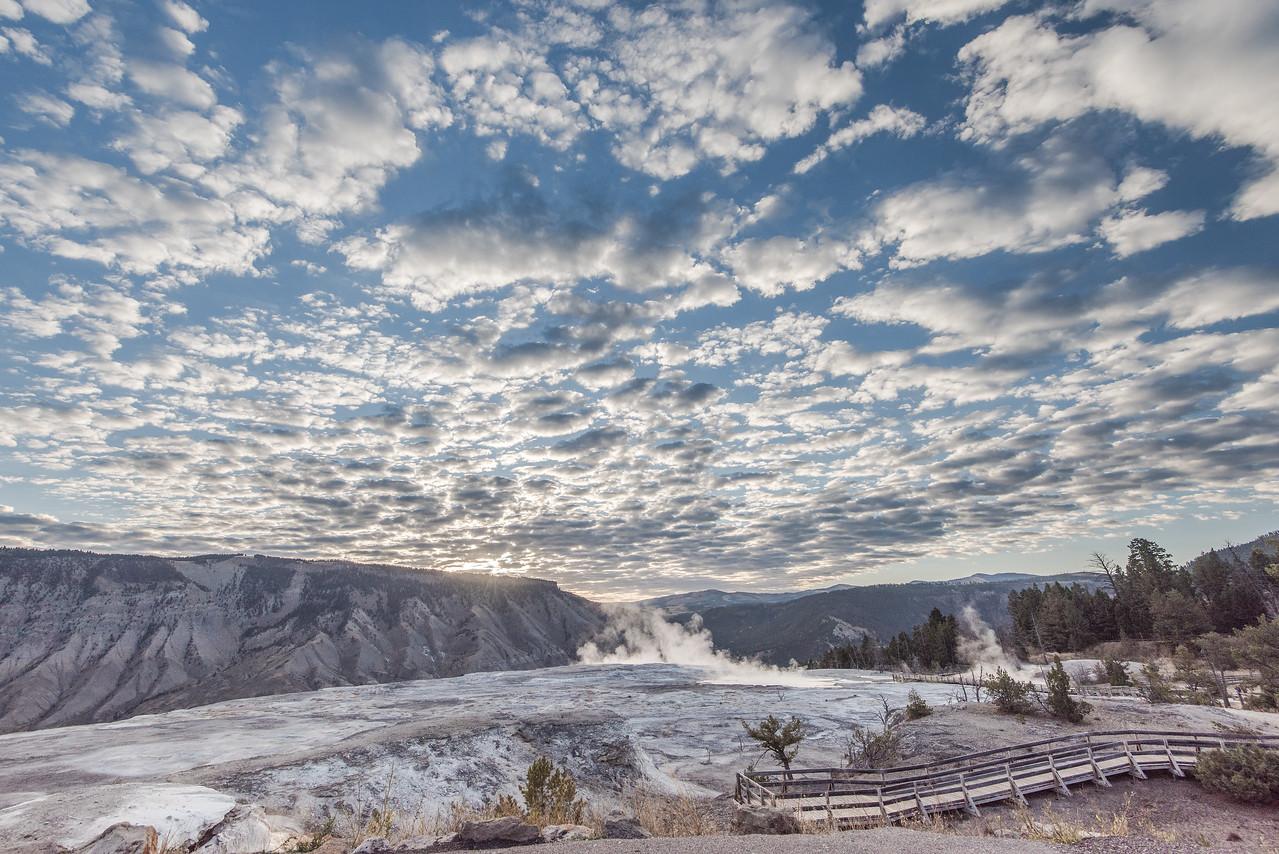 Mammoth Hot Springs Under Mackerel Sky