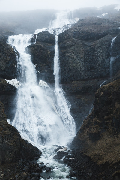Waterfall in the Eastern Fjords, Iceland
