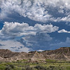 Storm clouds over Toadstool Geological Park in Northwestern Nebraska